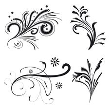 Set Of Floral Elements Royalty Free Stock Photo