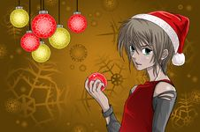 Free Anime Style Santa Boy With Christmas Background Royalty Free Stock Photography - 17296647
