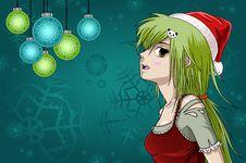 Free Anime Style Santa Girl With Christmas Background Royalty Free Stock Image - 17296656