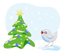 Free Bird Looking At Christmas Tree Stock Photos - 17297333