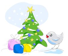 Free Bird Looking At Gifts Under Christmas Tree Stock Images - 17297354