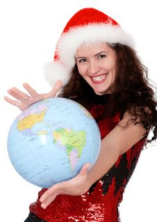 Free Christmas Girl With Globe Royalty Free Stock Photo - 17297415