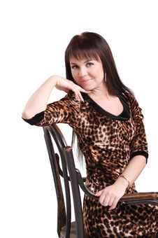 Free Attractive Young Woman In Leopard Dress. Isolated Stock Images - 17297604