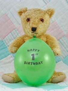 First Birthday Teddy Bear Royalty Free Stock Photography