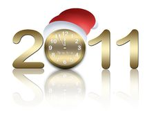 Free New Year Card With Clock Royalty Free Stock Photo - 17298595