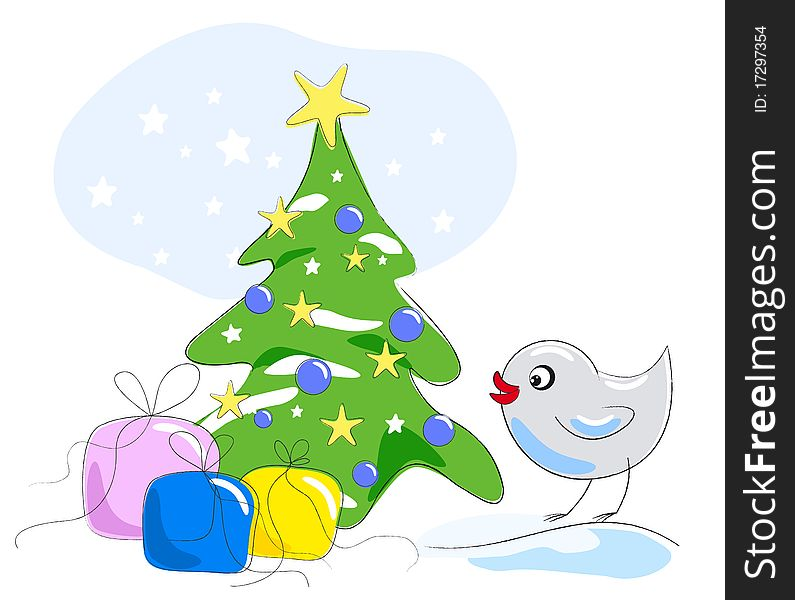 Bird looking at gifts under Christmas tree