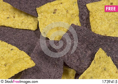Purple and yellow corn chips are yummy Stock Photo