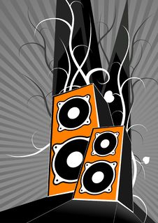 Free Orange Loudspeakers. Vector Royalty Free Stock Image - 1732136