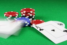 Poker - Beat That - A Pair Of Aces Thrown On The Baize Royalty Free Stock Image