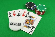 Free Full House With A Dealer Chip On Top Royalty Free Stock Photos - 1733178