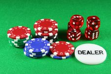 Free Poker Chips And 5 Dice Royalty Free Stock Image - 1733226