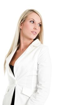 Blond Woman In White Stock Image