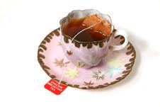 Free Antique Cup With Tea Bag. Stock Photography - 1735162
