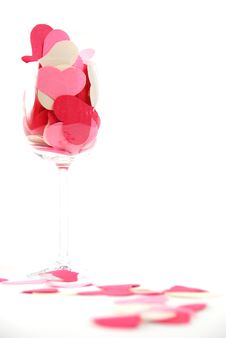 Free Cut Hearts In Wine Glass Royalty Free Stock Photography - 1735857