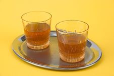 Free Two Glasses With Whiskey Standing On A Silver Tray Royalty Free Stock Photography - 1736147