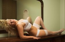 Sexy Woman In White Lingerie Stock Images