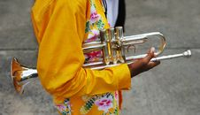 Free Band Member Holding A Trumpet Stock Photography - 1739512