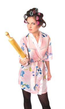 Free Housewife With Plunger Royalty Free Stock Image - 17300446