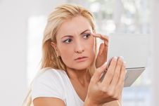 Free Beauty Woman Worrying About Puckers Royalty Free Stock Photography - 17301017