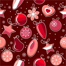 Free Seamless Pattern With Christmas Decoration Stock Photos - 17301273