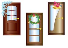 Door With Christmas Decorations. Stock Photography