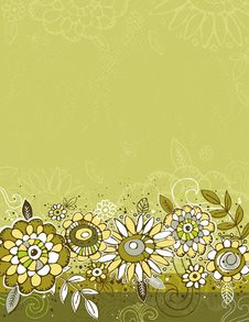 Hand Draw  Flowers On Green  Background Royalty Free Stock Images