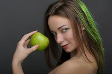 Free Woman With Apple Royalty Free Stock Photo - 17301945
