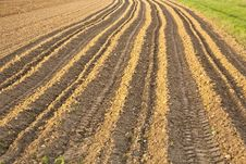 Newly Plowed Field Stock Photo