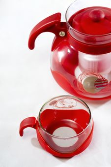 Free Glass Cup Red Handle Stock Photography - 17302152