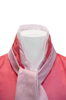 Free Collar Of Red Shirt  With A Pink Tie Royalty Free Stock Image - 17302286