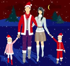 Free Family In The New Year Costumes Royalty Free Stock Photography - 17302847