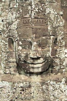 Bayon Face Details Stock Image