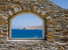 Free Arched Window Overlooking The Sea. Royalty Free Stock Photography - 17303687