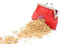 Free Red Purse With Hole And Wheat Royalty Free Stock Image - 17304676