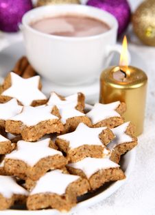 Hot Chocolate And Cookies Stock Images