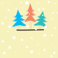 Free Christmas Card With Tree .  Illustration Royalty Free Stock Photos - 17305498