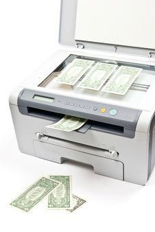 Free Printer And Money Stock Photo - 17305550