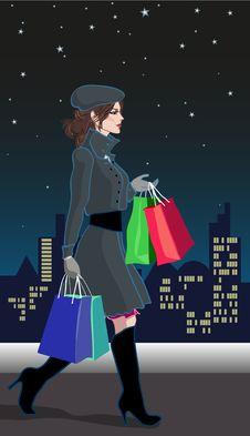 Free Shopping_girl_night Royalty Free Stock Images - 17305719