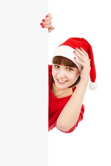 Santa Woman Holding Blank Sign Billboard Royalty Free Stock Photos