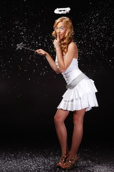 Free Cute Angel Girl Wants Silent Stock Photos - 17306963