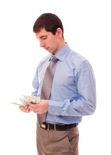 Free Man Counts The Money Stock Photos - 17307233