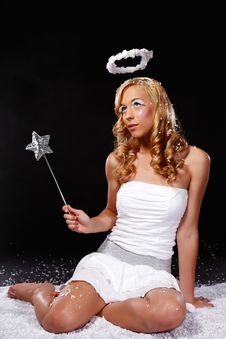 Free Nice Angel Girl With Halo And Magic Wand Royalty Free Stock Photography - 17307267