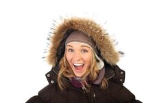 Free Portrait Of One Happy Frozen  Woman In Winter Coat Royalty Free Stock Photo - 17309105