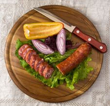 Breakfast Close-up. Slices Of Sausage Stock Image