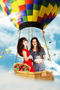 Free Beauty Girls On Air Balloon In The Sky Stock Images - 17319994