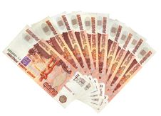 Row Of Russian Roubles Royalty Free Stock Image
