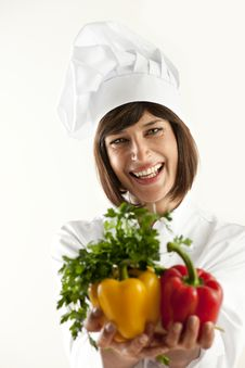 Female Chef With Vegetables Stock Photos