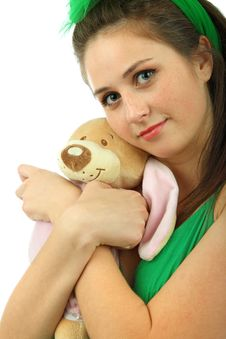 Free Portrait Of The Young Girl With The Teddy Bear Stock Images - 17310244