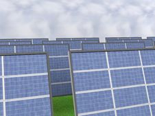 A Close Up Of A Solar Panel Field Stock Image