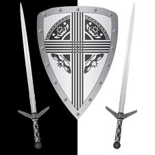Free Fantasy Shield And Swords Royalty Free Stock Images - 17310329